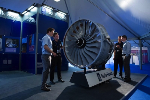 Rollys Royce Jet Engine at the Farnborough International Airshow made out of LEGO bricks