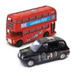 Die Cast London Black Cab and Taxi and a Red London Double Decker Bus with London 2012 Olympic Logos