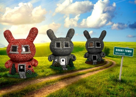 Three DunnyTown Dunnys - Red, Grey and Black