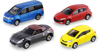 Tomica Blue Honda Stepwgn,Red Mazda Axela Sport, Grey Nissan FairladyZ Roadster, Yellow Toyota Vitz