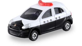 Black and White with Red Sirens Tomica Nissan March Patrol Car