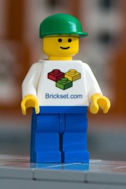 Custom Brickset.com LEGO Minifigure with White Shirt, Blue Pants and a Green Hat