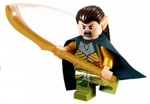 LEGO Elrond Minifigure with cape and Golden Weapon
