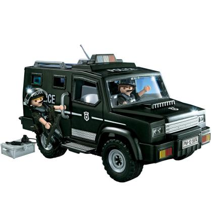 Black Playmobil Police Jeep with Two Officers