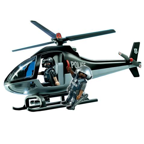 Black Playmobil Police Helicopter with Two Officers