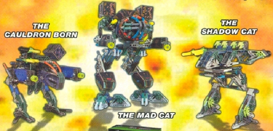 The Made Cat, The Shawdow Cat, and The Cauldron Born Battle Tech Mechwarrior Mechs