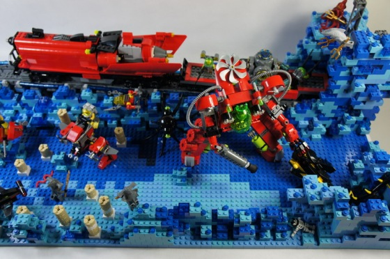 LEGO Atlantis Underwater Train with LEGO Atlantis Mecha