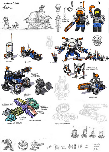 LEGO Polar Xxpress 2013 Minifugres and Vehicle Sketches