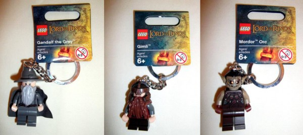 LEGO The Lord Of The Rings Keychain Minifigures Gandalf the Grey, Gimli and Mordor Orc
