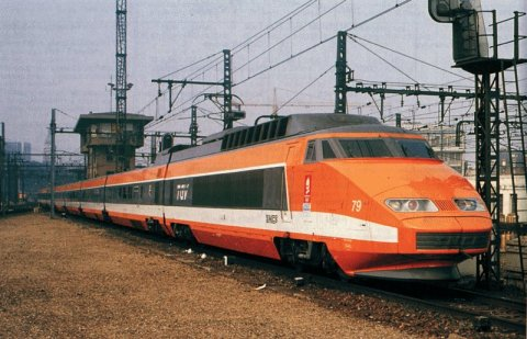 A 1st Generation Orange TGV Train in France