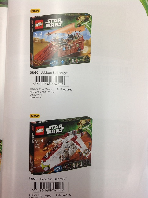 LEGO Star Wars 2013 Republic Gunship and Jabba's Sail Barge