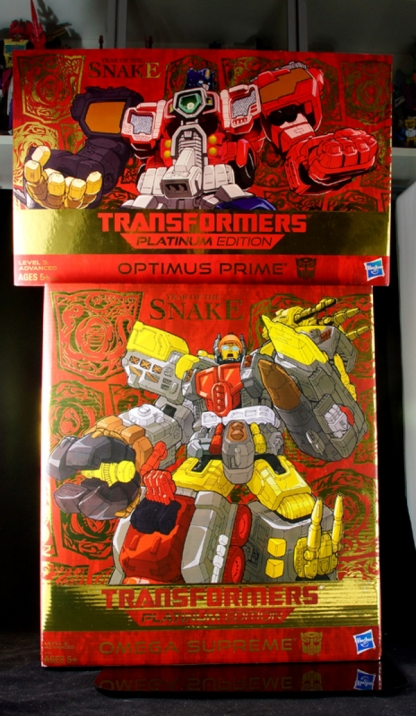 Transformers Platinum Edition Year Of The Snake Optimus Prime and Omega Supreme