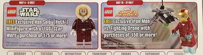 May 2013 LEGO Store Calendar Exclusive Iron Man Han Solo Minifigures