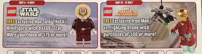 May 2013 LEGO Store Calendar Exclusive Iron Man Han Solo Minifigures